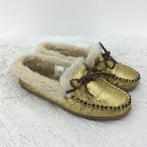 J. Crew  Lodge Gold  Moccasins Slippers